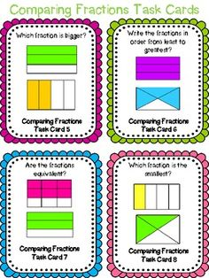 Comparing Fractions Task Cards & Scoot Game