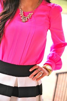 Pink blouse, crystal statement necklace, skirt