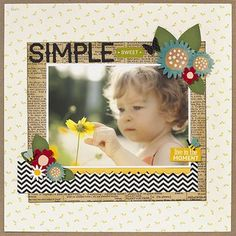 Simple single page layout Baby Girl Scrapbook, Kids Scrapbook, Scrapbook Albums, Scrapbook Cards, Scrapbooking Ideas, Digital Scrapbooking, Scrapbook Sketches, Scrapbook Page Layouts, Box Photo