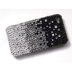 Black Silver Waterfall Gradient iPhone 4S 4 Case Cover Swarovski Crystal Element