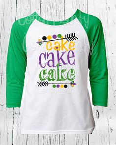 "Mardi Gras Boys Raglan Green short sleeve tee shirt ""Cake Cake Cake"" Mardi Gras tee shirt by CottonLaundry on Etsy"