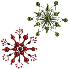 RAZ Imports - Red and Green Snowflake Ornaments RAZ Imports