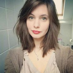 Medium length hair, brown, bangs, shaggy More