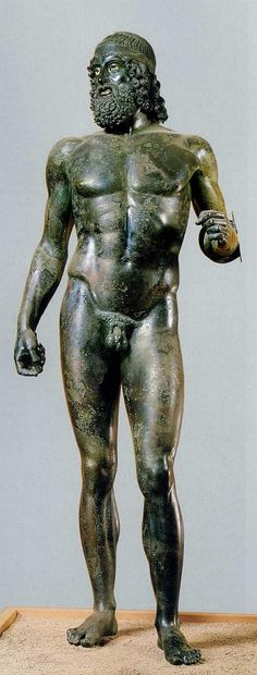 Riace Warrior, Ancient Greeece 460-450 BCE, bronze statue, found in the sea off Riace  in Italy, currently found  in the Museo Archaeologico Nazionale, shows the Early Classical periods style of idealzed figures posed in contraposto