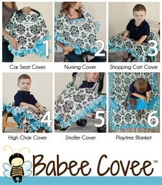 GMA - Babee Covee: 6 in 1 baby blanket cover, infant car seat cover, cart cover, nursing cover, playmat, stroller blanket