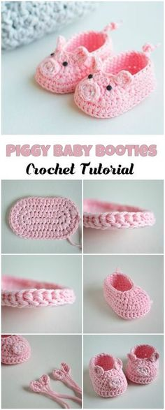 Crochet Piggy Baby Booties