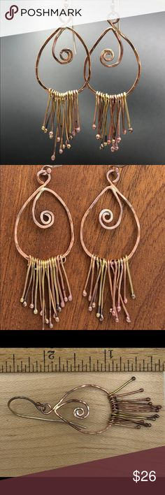 "Handmade Rustic Boho Gypsy Earrings Unique, boho rustic gypsy earrings. Handmade from raw materials - copper, brass, silver-filled and copper wire, and copper beads. Component and dangles =2"" long. See pics.  The main component is fabricated from pure cooper wire.  Each dangle is 🔥-made, hand shaped and individually attached to the component. The handmade, flame-shaped silver-filled earwires (20g) are attached and then the entire earring is tumbled for hours for polishing and…"