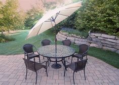 Oakland Living Tuscany 9-Piece Black Set with 60-Inch Round Table, 6 Stackable Chairs Plus 9-Feet Tilt and Crank Umbrella and Stand