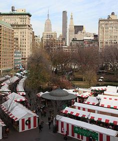 Browse over 150 vendors at New York City's Union Square Holiday Market—artisanal foods, ornaments, jewelry, and toys are all for sale beneath these red and white tents.
