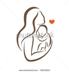 mother and baby stylized vector silhouette, outlined sketch of mom and child