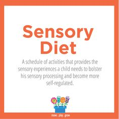 Sensory Diet: A schedule of activities that provides the sensory experiences a child needs to bolster his sensory processing and become more self-regulated. Tap the link to check out fidgets and sensory toys! Ot Therapy, Sensory Therapy, Sensory Tools, Autism Sensory, Sensory Activities, Speech Therapy, Sensory Play, Motor Activities, Therapy Ideas