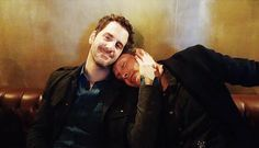 Mads Mikkelsen and Aaron Abrams on the Hannibal set