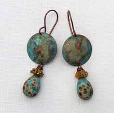 Primitive rustic boho artisan earrings art bead patina- Havana Beads- Meital- WinterBirdStudio