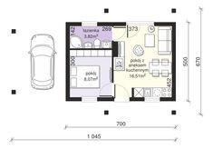 DOM.PL™ - Projekt domu Dom przy Bukowej 35A CE - DOM EB6-22 - gotowy koszt budowy Cabin Plans, House Plans, Tiny House Design, Small Apartments, Floor Plans, How To Plan, Home Decor, Small Flats, Tiny House Cabin