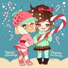 Sugar Rush - Taffyta and Vanellope! So cute but I really think vanellope should be beating taffyta over the head with the candy cane...