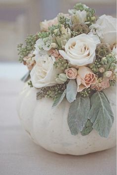 Pumpkin vase - love this arrangement