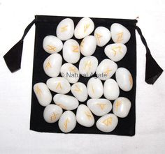 Metaphysical products-White Agate Rune Set