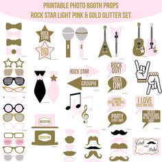 Instant Download Rock Star Light Pink Gold Glitter Rock & Roll Superstar Singer Rocker Birthday Party Printable Photo Booth Props Photobooth