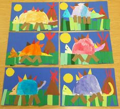 Dino-mite Dinosaurs! Kindergarten students had a great time creating prehistoric art. First, they drew the dinosaur's body using di...