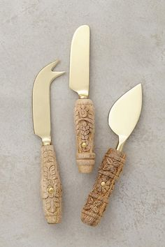 Carved Aurelian Cheese Knives | Anthropologie
