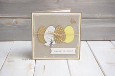 Niepowtarzalna, ręcznie wykonana kartka z okazji Wielkanocy. Baza papieru eko/craft w rozmiarze 14x14cm. W zestawie brązowa koperta.... Origami Cards, Easter Greeting Cards, Diy Cards, Easter Crafts, Stampin Up Cards, Cardmaking, Birthday Cards, Christmas Cards, Deco
