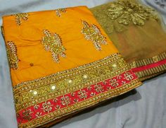 Heavy chanderi top with all over work on front side, Cotton bottom, Net dupatta with work  - Bottom color.same as top border color