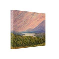 Wrapped canvas print of acrylic painting of sunset over the Hudson River and Catskill Mountains, as seen from Olana, home of Hudson River School landscape painter, Frederic Church.