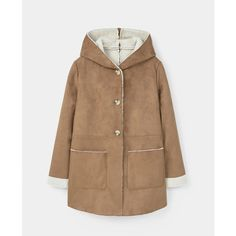 Faux Shearling Aviator Coat (€78) ❤ liked on Polyvore featuring outerwear, coats, beige coat, hooded faux shearling coat, hooded coat, long sleeve coat and mango coat
