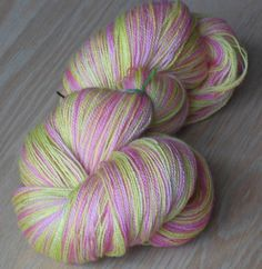 """Luxury Hand Dyed Merino Wool Lace Yarn, 2-ply Light Pink and Apple Green """"Gabrielle Delacour, Harry Potter Saga"""" #etsy #gifts"""
