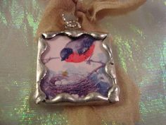 RED ROBIN  Soldered Art Glass Pendant or by victoriacharlotte, $7.00