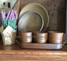 Primitive Country Farmhouse Rusty Set Of 3 Pots And Tray ~ Perfect For Florals #NaivePrimitive