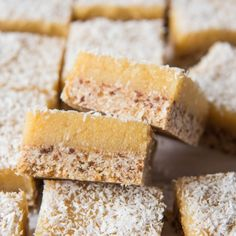 Lemon and Macadamia Slice. Simple, delicious and free from gluten, grains, dairy, egg and refined sugar.