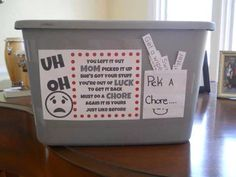 Chores for kid when they leave toys laying around a don't pick them up have it did chore to get it back