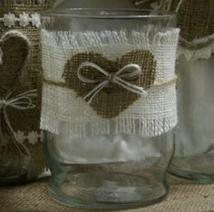 Burlap wedding centerpiece, Burlap wedding candle...