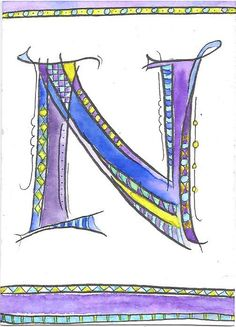 Theme: The Letter N Materials: Artists pen and watercolor on hot-press watercolor paper Alphabet Letters Design, Hand Lettering Alphabet, Alphabet Art, Calligraphy Letters, Letter Art, Creative Lettering, Lettering Design, Zentangle Drawings, Zentangles
