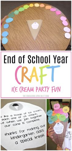 Are you looking for a fun way to celebrate the end of the school year with your class? Create a colorful and easy to make Class Project for End of School Year Party! Here's a fun way to remember classmates and make an ice cream party extra special. End Of The Year Celebration, End Of Year Party, End Of School Year, School Fun, Kindergarten Party, Preschool Graduation, Kindergarten Activities, Reading Activities, Graduation Ideas