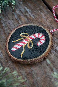 Items similar to Wood Slice Ornament, Candy Cane Ornament, Personalized Christmas Ornament, Primitive Christmas Decor on Etsy – Candy Cane Painted Christmas Ornaments, Handmade Christmas Decorations, Christmas Ornament Crafts, Wood Ornaments, Personalized Christmas Ornaments, Xmas Crafts, Christmas Diy, Primitive Christmas Crafts, Christmas Kitchen