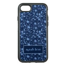 Trending Blue Flowers And Foliage Abstract Design OtterBox Symmetry iPhone 7 Case