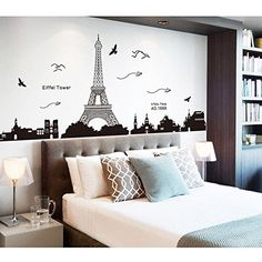 Pegatina-de-pared-vinilo-adhesivo-decorativo-para-cuartos-dormitoriococina--vista-de-Paris-Torre-Eiffel-Color-Negro-OPEN-BUY