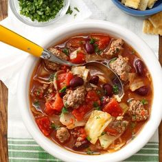 Cabbage and Beef Soup Recipe from Taste of Home -- shared by Ethel Ledbetter, Canton, North Carolina (Cabbage Recipes Oven) Cabbage And Beef, Cabbage Soup Diet, Cabbage Stew, Beef Soup Recipes, Cooking Recipes, Healthy Recipes, Cabbage Recipes, Chili Recipes, Amish Recipes