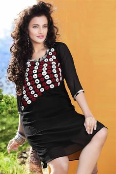 Elegant Black Viscose Stylish Kurti