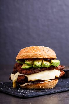 Crispy chicken, mozzarella and avocado burgers with lemon mayo