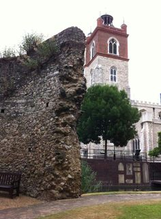 Part of a medieval wall near Cripplegate Church, Barbican, City of London.