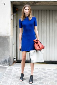 From Catwalk to Sidewalk: The Best Model Street Style at PFW | A dash of brilliant blue means this isn't your average day dress.