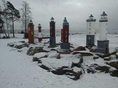Miniature lighthouses, Katarina park Arctic Circle, Lighthouses, Finland, Scandinavian, Places To Go, Miniature, Park, City, Outdoor