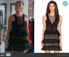 Hanna's black lace-up dress on Pretty Little Liars. Outfit Details: https://wornontv.net/69538/ #PLL