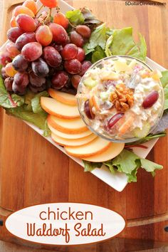 Chicken Waldorf Salad recipe that is amazingly delicious with yogurt and honey!   5DollarDinners.com