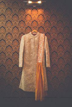 off white and orange sherwani, threadwork sherwani ,