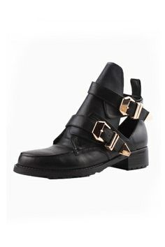 Chic Metal Buckle Cut Out Boots [HXM2002]- US$ 98.99 - PersunMall.com