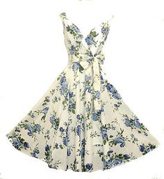 New Ladies Vtg 1950s Ivory Floral Blue Rose Print Summer Pin-up Swing Tea Dress | eBay